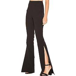Sólido de Boho Hippie Abertura Pierna Ancha Mujeres Acampanados Pantalones de Campana Inferior Black XL
