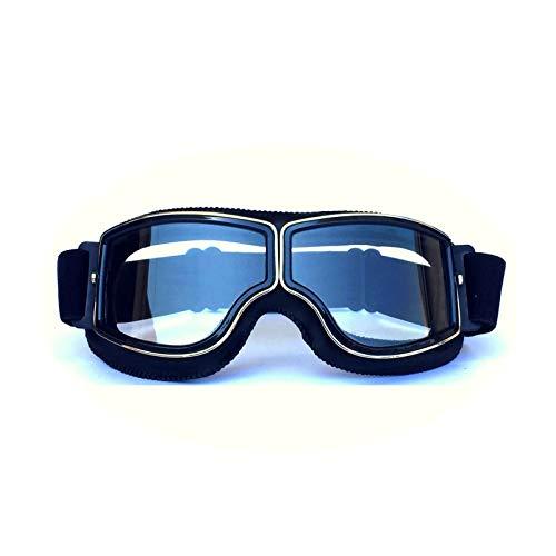 Adisaer Polarisierte Sonnenbrille Retro Helm Schutzbrillen Lokomotive Offroad Motorrad Schutzbrillen Retro Schutzbrillen Gläser Reiten Black Transparent Damen Herren