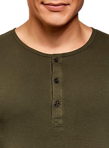 oodji Ultra Uomo T-Shirt Henley con Maniche Lunghe Verde (6600N)