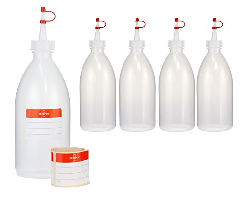 5 x 500 ml Quetschflaschen, Spritzflaschen aus LDPE mit Tropfverschluss, Garnierflaschen, Dekorationsflasche für Küche, Hobby oder Labor