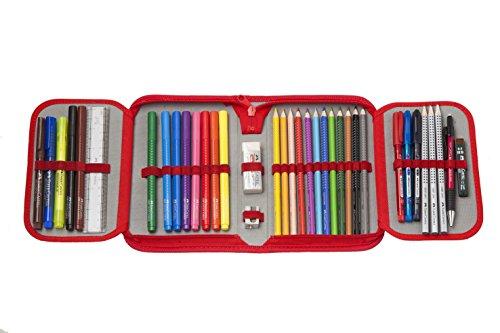 Faber-Castell 573005 – Plumier escolar Grip con cremallera con 12 ecolápices de color Grip, 10 rotuladores y accesorios
