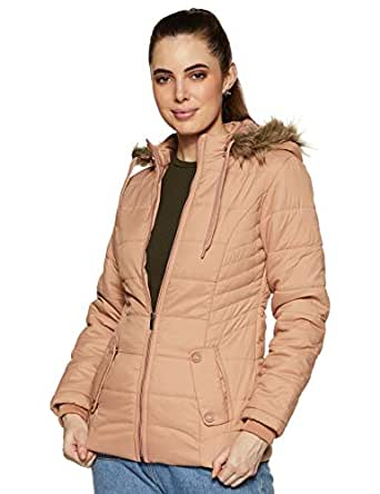 Cazibe Women's Quilted Jacket (89402BT_Peach_2XL)