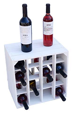 Kistenkolli Altes Land Weinregal 16er weiß/Natur/geflammt Maße 40x40x27cm Regalkiste Flaschenablage Weinregal Apfelkiste/Weinkiste (Weinregal 16er weiß)