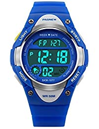 Hiwatch Kids Sport Watch Outdoor Waterproof Swimming LED Digital Watch with Alarm Back Light Stopwatch for Boys Girls 7+ Years Old Blue