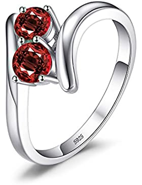 JewelryPalace Mode 0.95ct Echter Granat 2 Stein Bands Ring 925 Sterling Silber
