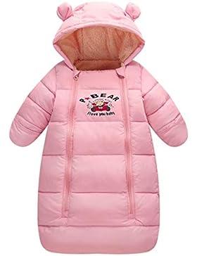 Baby Schlafsack 3 Tog, Neugeborenen Langen Ärmeln mit Kapuze Strampler Winter Reißverschluss Vorne