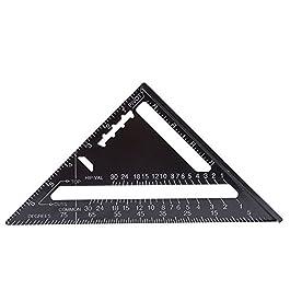Akozon Triangolo Righello Angolo Goniometro,7 Pollici Metrico/Imperiale Lega di Alluminio Ossidazione Nero, Roofing Rafter Piazza