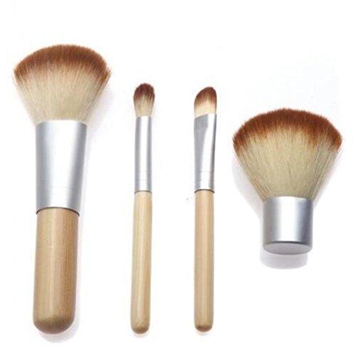 Minshao 4 pcs Bambou Lot de brosse de maquillage professionnel visage Fard à paupières Eyeliner Fond de teint Blush à lèvres Pinceaux de maquillage Poudre Liquide Crème Cosmetics Estompeur Outil