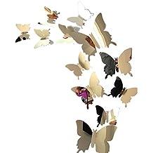 Tefamore Pegatinas de pared Calcomanía mariposas Espejo 3D Mural Decoraciones para el Hogar