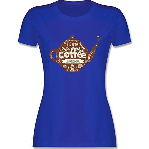 Statement Shirts - I Love Coffee Kanne - tailliertes Premium T-Shirt mit Rundhalsausschnitt für Damen Royalblau