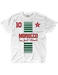 KiarenzaFD Camiseta T-Shirt Hombre Nacional Deporte Morocco Marruecos Maroc 10 Futbol Deporte Africa Stella