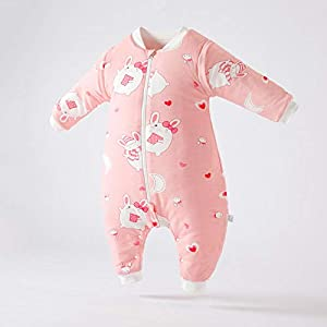 QFYD FDEYL Longitud Ajustable para Bebé,Saco de Dormir de algodón Grueso para piernas de bebé, a Prueba de Patadas de Invierno-Verde Claro_S,Saco de Manta para con Polar