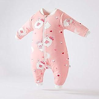 QFYD FDEYL Saco de Dormir para bebés con Mangas extraíbles,Saco de Dormir de algodón Grueso para piernas de bebé, a Prueba de Patadas de Invierno,Súper Suave y cálido,Muselina Premium Acolchado