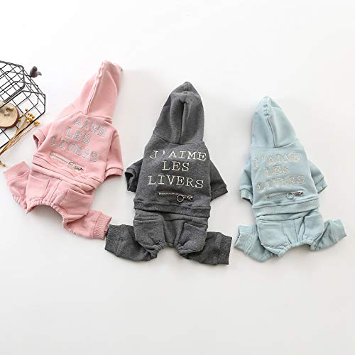 PZSSXDZW Neue Haustierkleidung vierbeiniger dreifarbiger englischer Kapuzen-Teddybär Xiulan Naru Kleidung Vier Fuß ziehen Kleidung