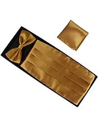 Ensemble de 3 pièces Ceinture de Smoking Noeud Papillon Cravate Lavallière Mouchoir De Poche Homme en Polyester pour Soirée Businesse Mariage Cérémonie Déco Fête Costume Complet Necktie