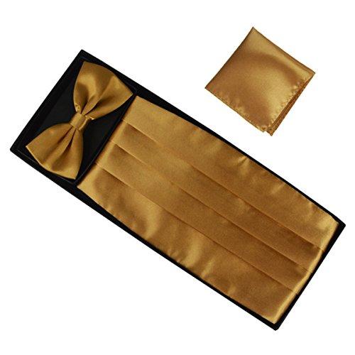 Panegy Herren Fliege Kummerbund Einstecktuch Set Unifarben Fliegen für Hochzeit Bowtie Party Men Bow Tie Cummerbund Set - Gold Gold Bow Tie