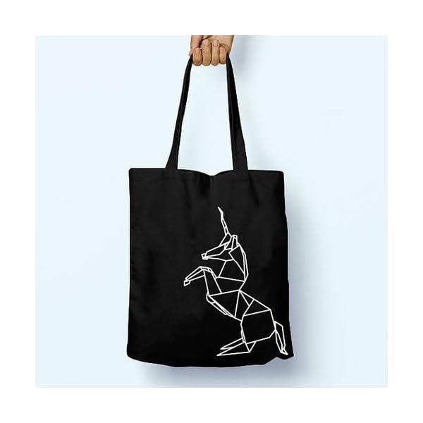 Geometric Unicorn Origami Illustrated, Shoulder, Tote, Long Handles, Graphic, Cute, Tumblr, Hipster, Beach, Gym, Festival, School, Bag - handmade-bags