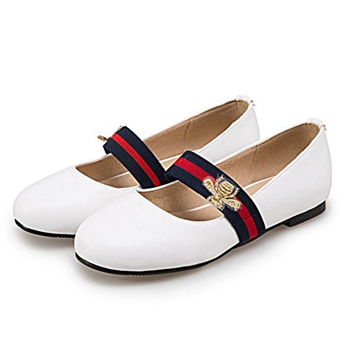 COOLCEPT Femme Simple Bout Ferme Rond Escarpins Plat A Enfiler Chaussures Mary Janes Blanc