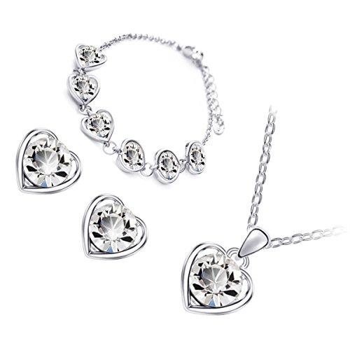 GWG® Conjunto Collar, Pendientes y Pulsera para Mujeres, Chapado en Plata de Ley Cristal Redondo Claro Encuadrado en Corazón