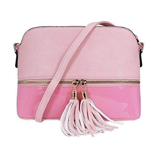 CRAZYCHIC - Damen Mittelgroße Umhängetasche - Schultertasche Mehrfarbig - Multi-Pocket Satteltasche - Messenger Bag Mit Quasten Fransen - Lackleder Tasche - Crossbody - Mode Casual Frau - Rosa -