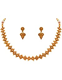 Jfl - Jewellery For Less Traditional Ethnic One Gram Gold Plated Polki Diamond Designer Necklace Set With Earring...