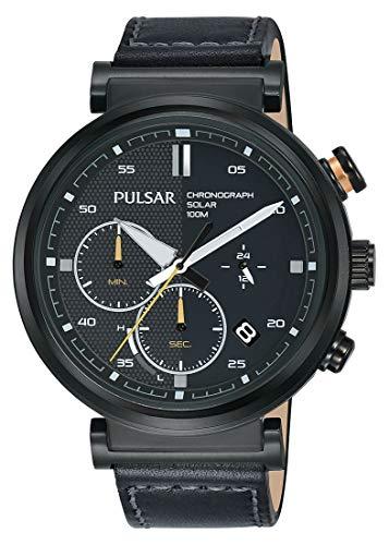 Pulsar Reloj Cronógrafo para Hombre de Energía Solar con Correa en Cuero PZ5071X1