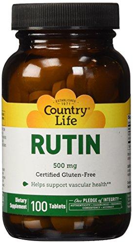 Country Life Rutine libre de Gluten ( Gluten Free Rutin ) 500mg x100tabs - Santé Vasculaire