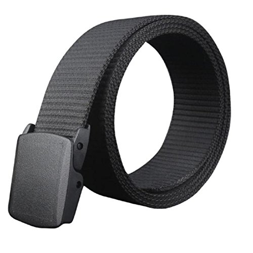 Preisvergleich Produktbild WOCACHI Herren Gürtel Wild Men Leinwand Belt hypoallergen Metall frei Kunststoff Automatik Buckle (Schwarz)