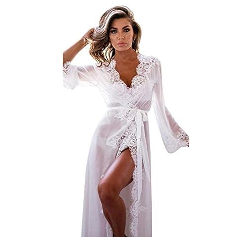 Hot Sale!Women Lingerie Sets, FeiXiang♈ Women's Fashion Baby doll Sleepwear Underwear Lace Coat Nightwear +G-string Two-Piece Lingerie Sets (L, White)