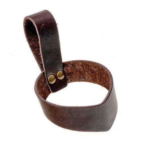 Pera Peris Schlichter Trinkhornhalter aus weichem Leder für Mittelalter und Wikinger-Trinkhörner Farbe braun, Größe XX-Small -