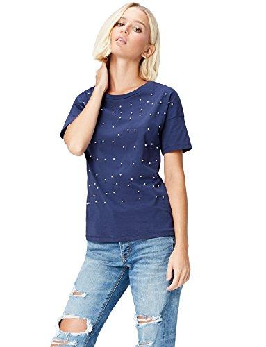 FIND T-Shirt Damen mit Perlendetails auf der Vorderseite, Rundem Ausschnitt und Lockerer Passform, Blau (Twilight Blue), 46 (Herstellergröße: XXX-Large) (Perlen Shirt Tank-top)