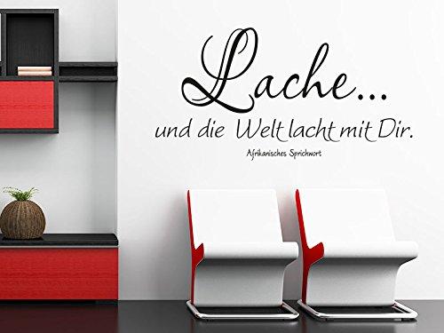 Klebeheld® Wandtattoo Lache. und die Welt lacht mit dir. (Farbe türkis/Größe 150x78cm)