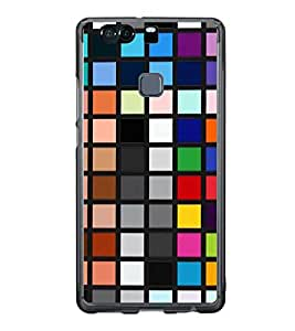 Fiobs Designer Back Case Cover for Huawei P9 Plus (Squares Patterns Designs Variations Mobile Cover Multicolor)