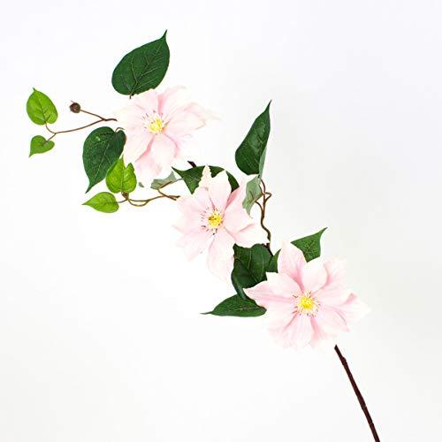 artplants Set 12 x Künstlicher Clematiszweig SALIYA, rosa-weiß, 80 cm, Ø 14 cm – 12 Stück künstliche Blume/Kunstblume Dekozweig