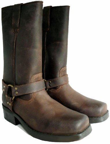 Set de botas largas de vaquero y calcetines, para hombre, piel de ternero, estilo Terminator, color marrón, talla 42.5