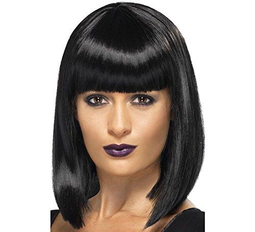 Peluca de Cleopatra con flequillo negra. Ideal para nuestros disfraces de china, Cleopatra, cabaret, etc... Recuerda que dispones de 14 días para poder devolverla.