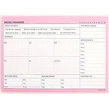 paperian semanal Manager–alfombrilla para escritorio (planificador semanal, planificador sin fecha, color Bubblegum Pink