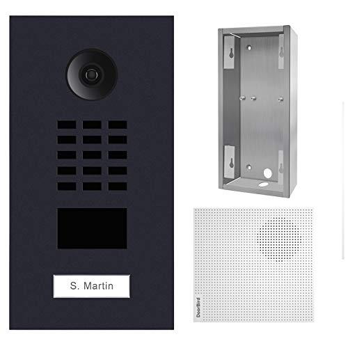 Doorbird - Kit D2101V-RAL7016 + A1061W + SUP-D2101V - Video-Türsprechanlage, RFID + Türklingel + Montagehalterung - Schwarz