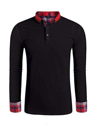 Pique Langarm Polo-shirt (Finejo Herren Poloshirt Langarm Einfarbig Winter Polo Kragen Freizeit Sport Men's Polohemd Schwarz S)