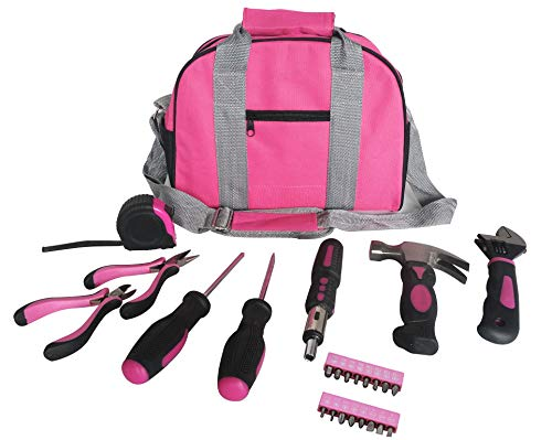 Rosa Tool Kit Werkzeugtasche DIY Set beinhaltet rosa Hammer, rosa Zangen, rosa Schraubendreher in rosa Tragetasche 25pcs