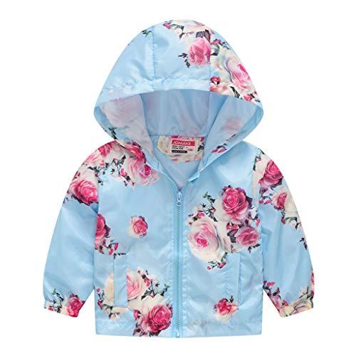 MRULIC Kinder Mädchen Jungen Floral Bedruckter Frühling mit Kapuze Licht Mantel Reißverschluss Jacke Tops Sonnenschutz Kleidung 1-6 Jahre(A-Hellblau,110-120CM) Santa Baby Kleid