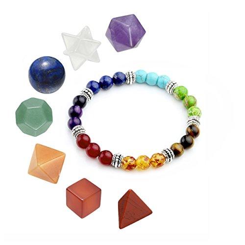 CrystalTears 7Plato 'Sche Körper Sacred Geometrie und 7Chakra Kristallen Armband Set Reiki, healling, Yoga Meditation (Plato Für Kinder)