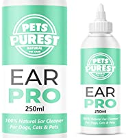 Pets Purest Ear Cleaner For Dogs Recommended by UK Vets (250ml) Stop Itching, Head Shaking & Smell – Anti
