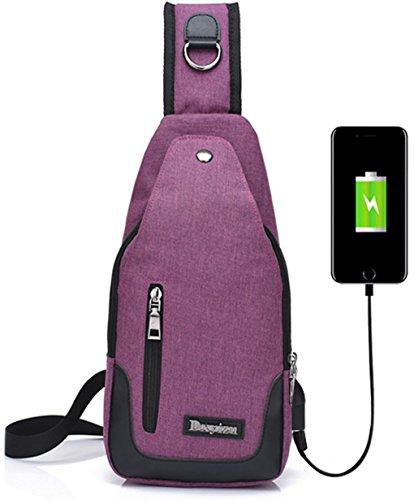 lemongirl Sling Rucksack Umhängetasche Tagesrucksack mit USB Lade-Port Sling Schulter Brust Tasche für Männer und Frauen Einheitsgröße Purply (Butterfly Gesteppte Rucksack)