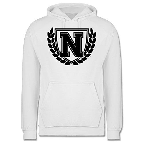 Anfangsbuchstaben - N Collegestyle - Männer Premium Kapuzenpullover / Hoodie Weiß