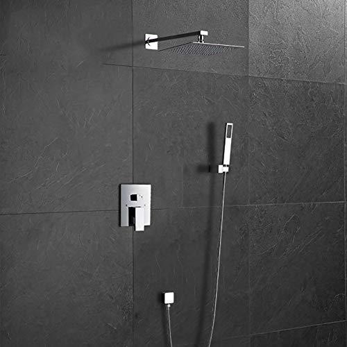 BTSSA Duschsystem Regenduschset Ohne Wasserhahn, Edelstahl Duschset Mit Eckigem Duschkopf Und Handbrause