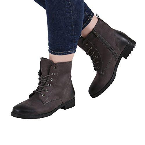 Gefütterte Damen Schnürstiefeletten Profil Sohle Stiefeletten Gr. 36-42 Grau