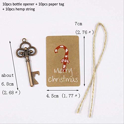 LUFEILI 10 Sets Schlüsselform Flaschenöffner Schlüsselbund Öffnen mit Geschenk Papier Tag Hanf String Bier Wein Flaschenöffner Weihnachtsfeier Dekoration 10 Sätze