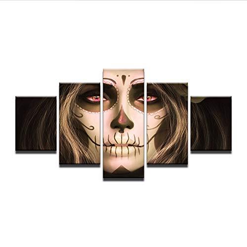 ultur Kunst Wand 5 Stück Mit Rahmen Leinwand Mexikanische Schädel Malerei Idee Hd Bild Gedruckt Auf Leinwand, 12 X 16/24/32 Zoll, Ohne Rahmen ()