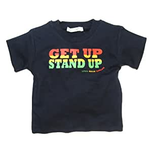 Little Green Radicals organic Fairtrade cotton Get Up Stand Up T-shirt  (Seal Navy, 1-2 Years)